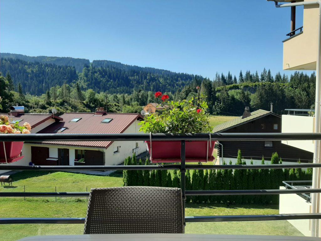 Cette image montre la vue du paysage devant mon balcon d'où j'effectue mon travail d'auteure.