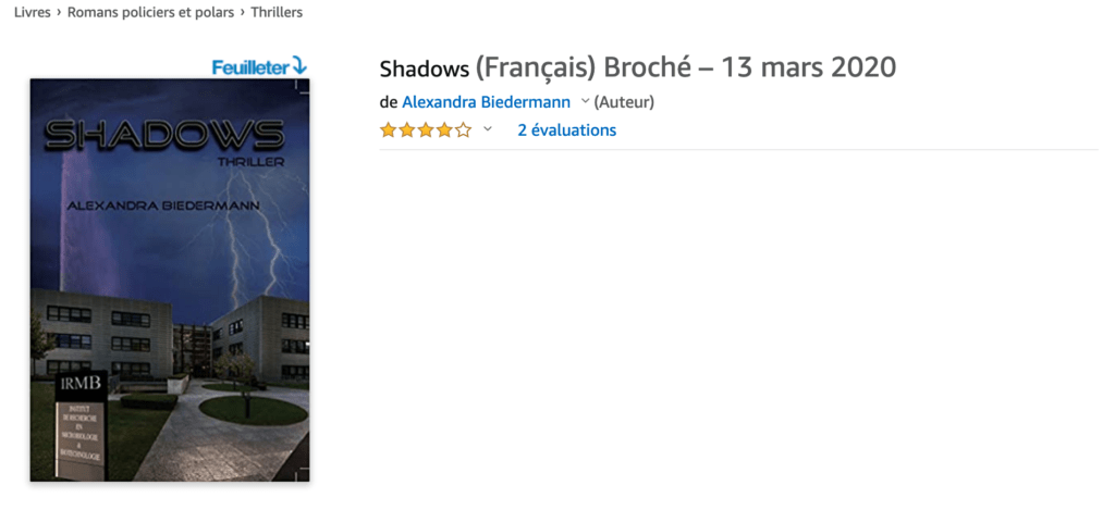 Image de la page de Shadows sur Amazon.